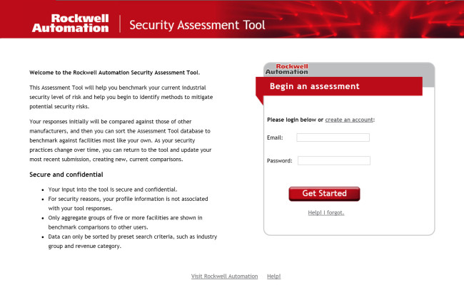 Assessment Tool – Rockwell Securit – login page