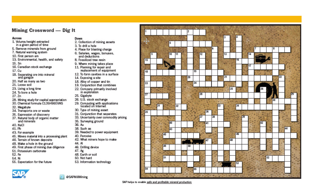 Crossword - SAP-Mining-Crossword-Postcard